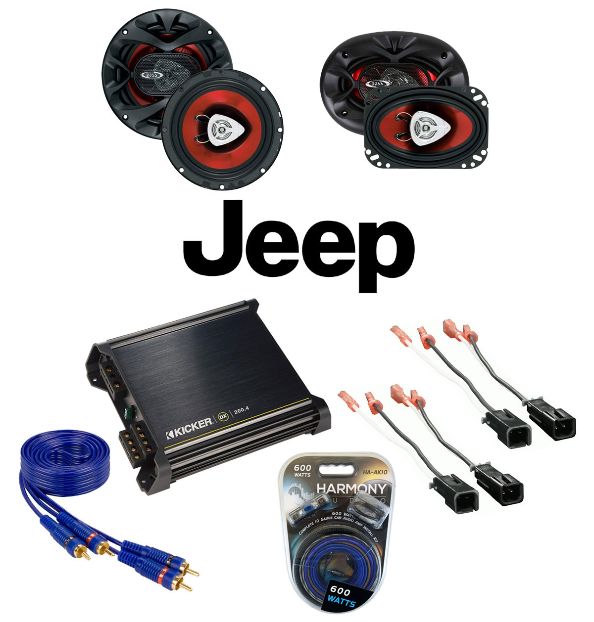 jeep wrangler 1997 2006 boss ch4630 ch6500 coaxial factory upgrade replacement. Black Bedroom Furniture Sets. Home Design Ideas