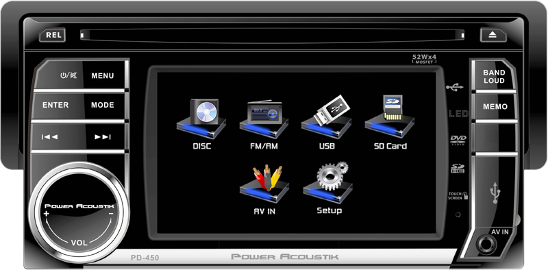 Power Acoustik PD-450T Single DIN A/V Source Unit with Detachable 4.5-Inch LCD Screen (w/ Analog TV Tuner)