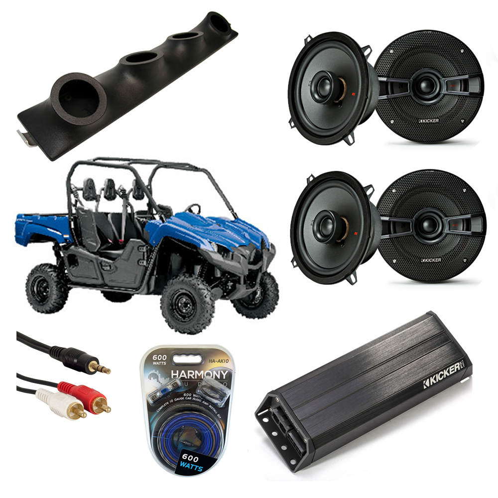 Yamaha Car Audio: Yamaha Viking UTV Kicker KS525 & PXA300.4 4CH Amp Quad 5